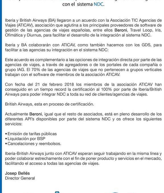 Beroni ha desarrollado en tiempo récord la integración NDC de Iberia y British.