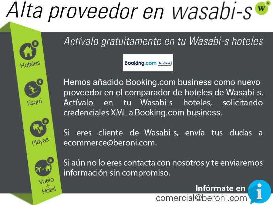 Booking.com, nuevo proveedor en Wasabi-s